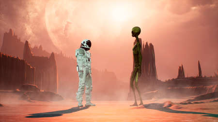 Meeting an alien and an astronaut on a mysterious planet in a distant deep space. 3D Rendering. Фото со стока