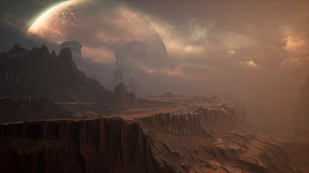Panoramic landscape on the surface of an alien unusual planet. 3D Rendering.