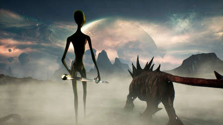 An alien with his unusual animal go hunting. Landscape of a creepy alien planet in a lost space. 3D Rendering.