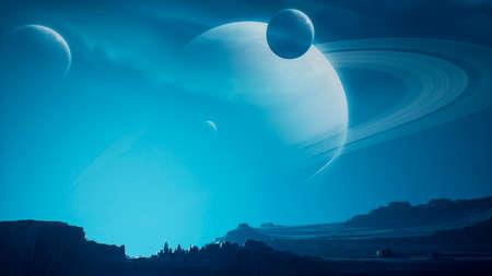 Landscape of an amazing alien unknown planet in far space. 3D Rendering.