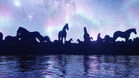 A large herd of horses grazing in the steppe near a pond against the background of stars and Northern lights. Animal husbandry and nature. 3D Rendering.