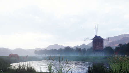 A rural misty morning landscape with an old windmill and horses next to a pond, grasses and plants swaying in the wind background a cloudy sky. 3D Rendering. Фото со стока