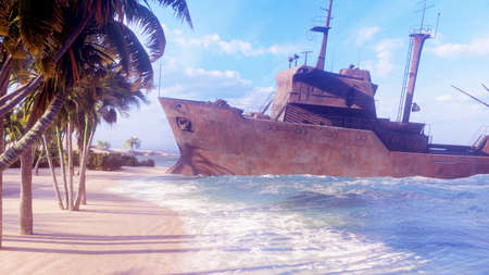 A ruined rusty ship lies on the beach of a tropical island. Concept of abandoned industrial vessels. 3D Rendering.