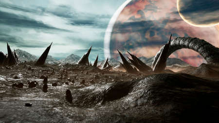 Panoramic landscape of the surface of a creepy alien planet. 3D Rendering.