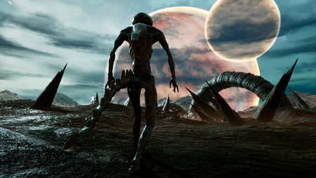 An alien walks on his amazing planet. Landscape of an creepy alien planet in the lost space. 3D Rendering.