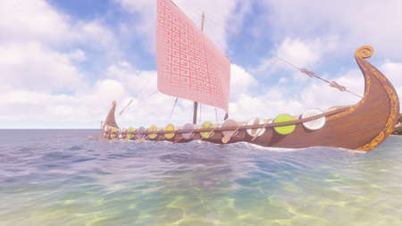 A Viking warship stands on the shore of a beautiful lost tropical island. Concept on the theme of the Vikings and the early middle ages. 3D Rendering.