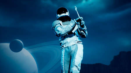 A research astronaut plays golf on an alien uninhabited planet. 3D Rendering. Фото со стока