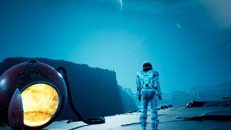 An astronaut explorer is playing Golf on a beautiful alien planet. 3D Rendering.