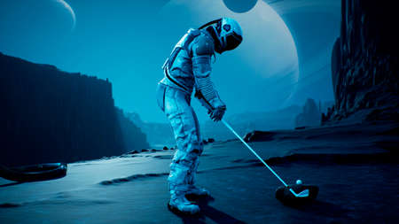 An astronaut explorer is playing Golf on a beautiful alien planet. 3D Rendering.