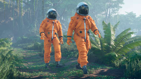 The astronauts-scientists are studying a foreign green deserted planet. 3D Rendering.