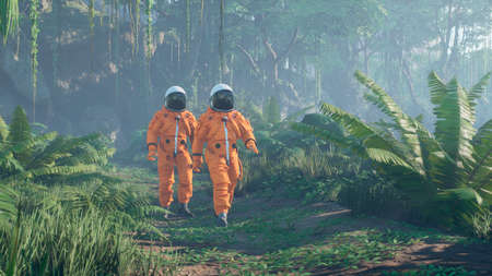 Astronauts explore an unknown blooming green planet. 3D Rendering.