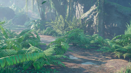 Beautiful jungle and green ferns in the rainforest. View of the green forest in the jungle on a sunny morning. 3D Rendering. Archivio Fotografico
