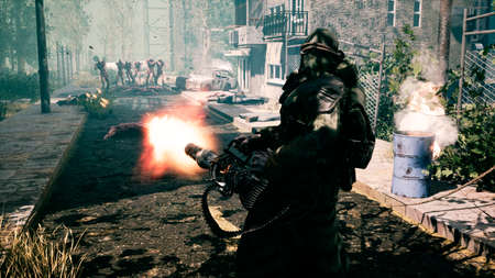 The last survivor of the Apocalypse shoots nightmarish zombies with a machine gun in a deserted city. 3D Rendering.
