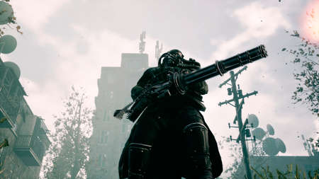 The last soldier of the Apocalypse fires a machine gun in a deserted apocalyptic city. 3D Rendering.