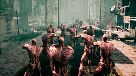 The last Stalker with a machine gun fights with zombies in an abandoned city. 3D Rendering. Standard-Bild
