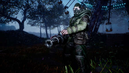 A surviving soldier with a machine gun fights monsters in a post-apocalyptic world. 3D Rendering.