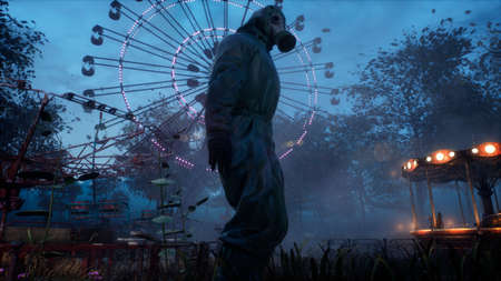 Stalker in a chemical protection suit and gas mask in an old abandoned Park. 3D Rendering.