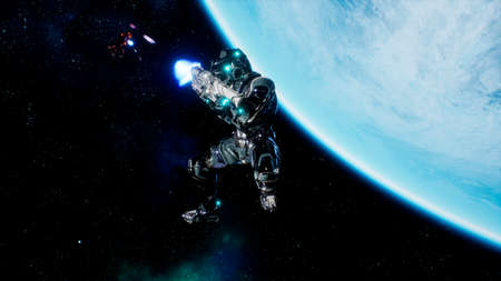 Battle of soldiers of the future in open space near the blue planet. Shootout in deep space. 3D Rendering.
