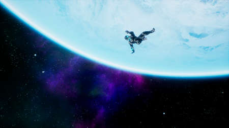 A soldier of the future falls on a blue planet in outer space. 3D Rendering.