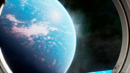View of the planet Earth from the space gateway. 3D Rendering. Stock Photo