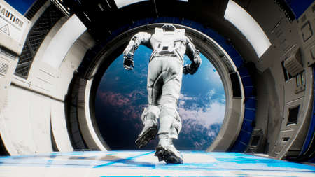 An astronaut jumps out of a spaceship into outer space. 3D Rendering. Standard-Bild
