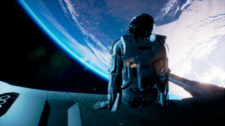 An astronaut sits on the wing of his spaceship and swings his legs looking at the blue planet. 3D Rendering. Standard-Bild