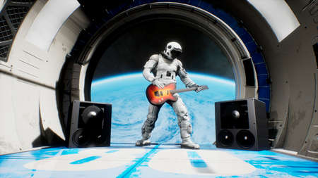 Astronaut on a spaceship playing guitar space rock n roll. 3D Rendering.