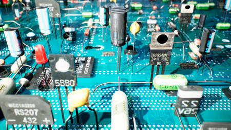 Electronic components inside a technological device: microchips, transistors, LEDs, and semiconductors. 3D Rendering. Banco de Imagens
