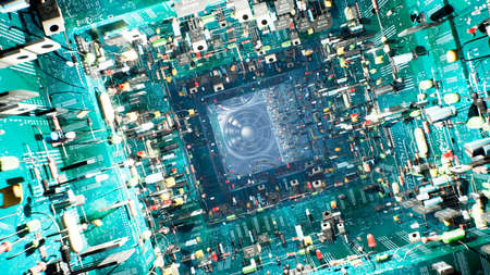 Technological background of the circuit Board. Inside the unusual computer are electronic components: chips, transistors, LEDs, semiconductors. 3D Rendering.