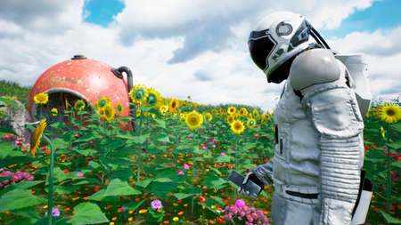 The research astronaut has returned to his planet and is trying to contact someone by phone. 3D Rendering.