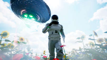 An alien flying saucer chases an astronaut running through a flower field. The concept of a UFO or alien spacecraft. 3D Rendering.
