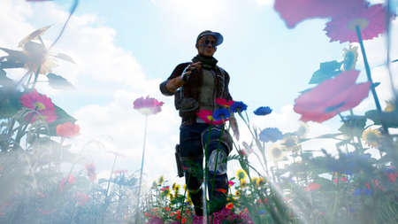 A young man runs from danger on a flower field. 3D Rendering.