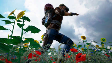 A young man runs from danger on a flower field. 3D Rendering.