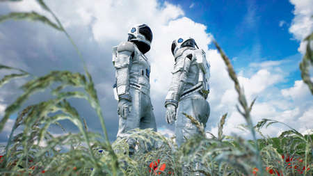 Meeting of two astronauts in love on an alien blooming planet. 3D Rendering.