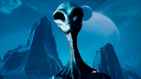 The alien makes an accusing and threatening gesture pointing his index finger. 3D Rendering.