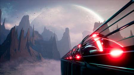 Alien fantastic transport is passing over the desert planet. 3D Rendering. Archivio Fotografico