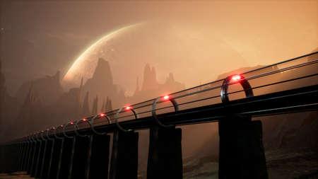 A levitating alien train sweeps across an unknown beautiful planet. 3D Rendering.