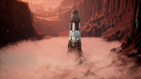 A space rocket lands on an unknown beautiful planet. 3D Rendering.