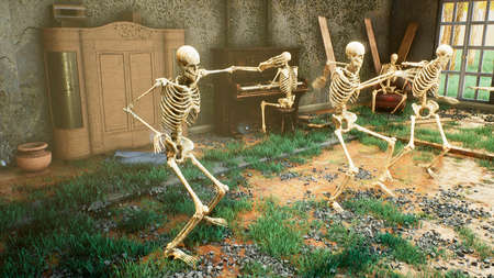 Skeletons dancing a fun dance in an old ruined house. The concept of a post-apocalyptic world or Halloween horror. 3D Rendering.