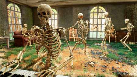 Skeletons playing the piano and dancing during Halloween in a horror house. The concept of a post-apocalyptic world or Halloween horror. 3D Rendering.