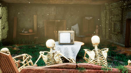 Several skeletons sit in a close family circle in an abandoned house and watch static noise on an old TV. The concept of a post-apocalyptic world or Halloween horror. 3D Rendering. Standard-Bild