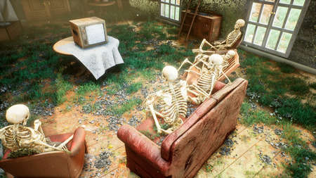 Several skeletons sit in a close family circle in an abandoned house and watch static noise on an old TV. The concept of a post-apocalyptic world or Halloween horror. 3D Rendering. Archivio Fotografico
