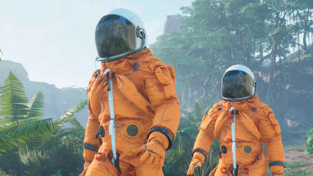 Research astronauts landed on an alien green planet. 3D Rendering.