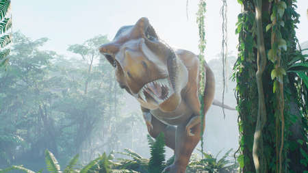 The Tyrannosaurus Rex dinosaur slowly creeps up on its prey in a thicket of green prehistoric jungle. View of the green prehistoric jungle forest on a Sunny morning. 3D Rendering. Stock Photo
