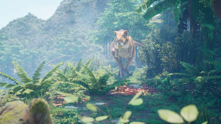 The Tyrannosaurus Rex dinosaur slowly creeps up on its prey in a thicket of green prehistoric jungle. View of the green prehistoric jungle forest on a Sunny morning. 3D Rendering.