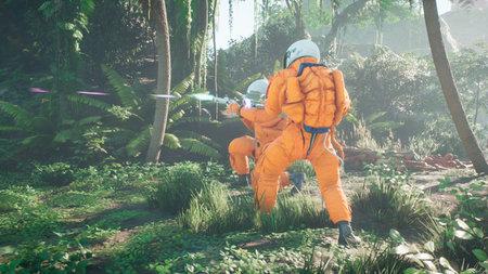 Astronauts battle the dinosaur Tyrannosaurus Rex in a prehistoric alien jungle. 3D Rendering.