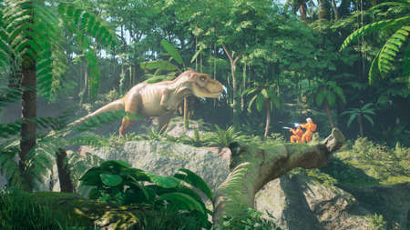 A meeting of two time-traveler astronauts and a predatory Tyrannosaurus rex in a prehistoric Jurassic park. 3D Rendering.