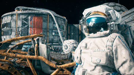 An astronaut stands beside his lunar rover at the space moon base. View of the lunar surface and lunar colony. 3D Rendering.