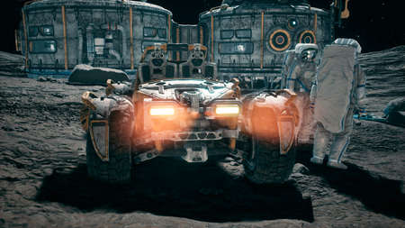 Meeting of astronauts at the lunar base near the lunar rover. View of the lunar colony and astronauts working at the space base. 3D Rendering.