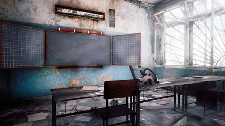 Abandoned ruined school with rubbish on the dusty floor. View of an abandoned apocalyptic school. 3D Rendering.